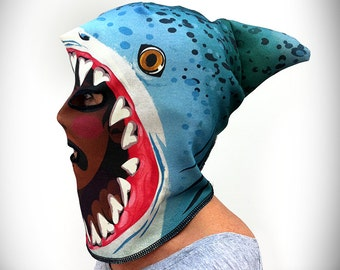 Shark Attack Monster Mask (100% Organic Cotton Knit) ADULT or KID size