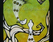"""I Know You See Me 8"""" x 10"""" print of an original acrylic painting by Owen Klaas green yellow birds branches"""