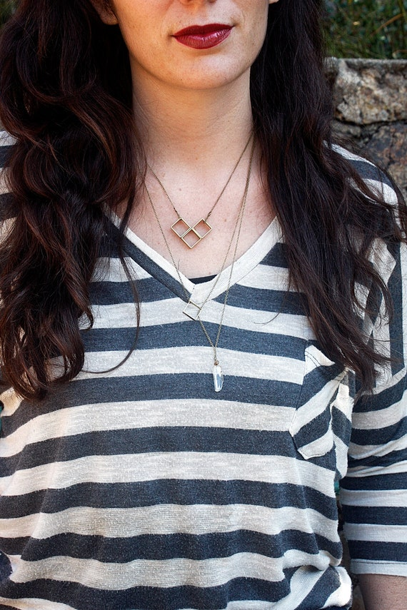 Brass Square & Quartz Necklace