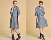 Free Style Lovely Wide Collar Dress with Pleats/ Any Size/ 30 Colors/ RAMIES