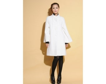 Bell Sleeve Pure Wool Jacket/ Stand-up Collar Dress Coat / 17 Colors/ RAMIES