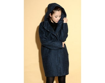 Crunch of Autumn Leaves Pure Wool Coat with Big Hood and Pockets/ 16 Colors/ RAMIES