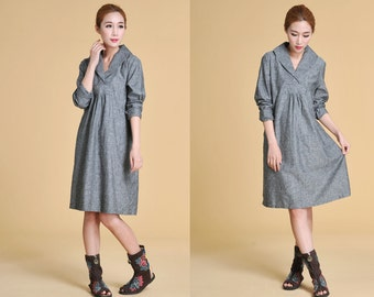 Free Style Lovely Wide Collar Dress with Pleats/ Shirt Dress/ Any Size/ 30 Colors/ RAMIES