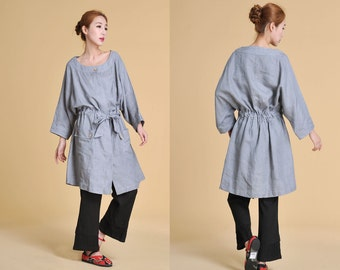 Free Style Long  Blouse with Belt / Light Coat/  Any Size/ 25 Colors/ RAMIES