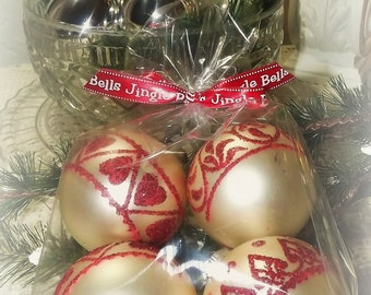 Vintage 1950's,Shiny Bright Christmas Ornaments, Red and White, Farmhouse Christmas
