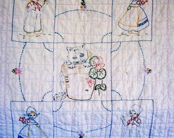 VINTAGE Baby/Doll QUILT Charming Embroidered Design on Quilted Seersucker w/ Flannel Backing -SALE-