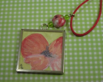 Hand Painted Red Poppy Pendant