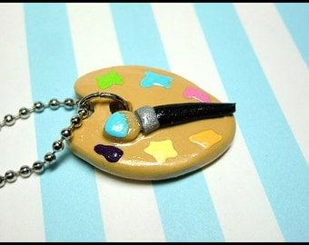 Artist Pallet Necklace, Handmade Artist Painter's Board