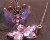 Beautiful Crystal Butterfly & Floral Dangle Earrings - Designed by Pinky Loco