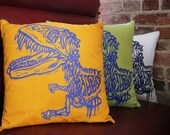 """Ready To Ship Screen Printed  Dinosaur Pillow Cover 16x16"""" Orange and Blue"""