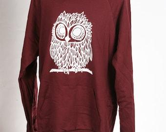 Owl on Truffle American Apparel Hoodie