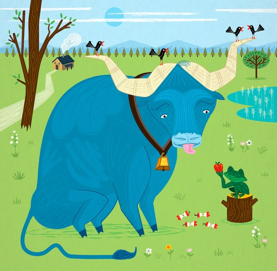 iOTA iLLUSTRATION - The Ox and The Frog - Limited Edition Animal Art Print