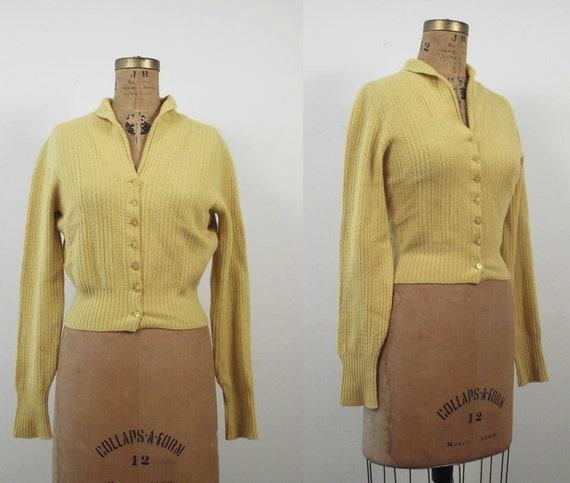 1940s Sweater / 40s Mustard Yellow Cardigan / Braemar Scotland