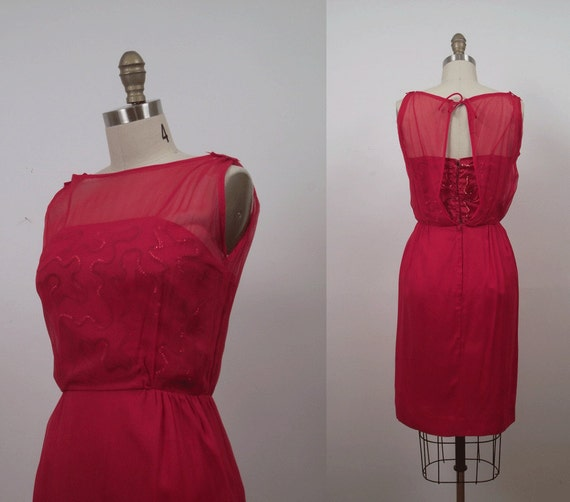 1960s Chiffon Cocktail Dress / 60s Red Sequin Wiggle Dress