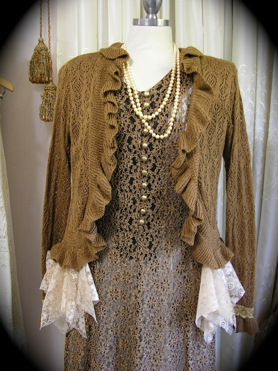 Bohemian Boho Sweater earthy golden brown upcycled womens clothing altered couture MEDIUM LARGE