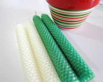 Green and White Beeswax Candles