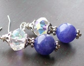Crystal and Purple Candy Jade earrings