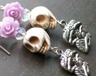 Sugar Skull and Purple Rose Sugar Skull Earrings