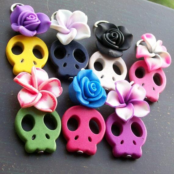 Sugar Skull and Rose Pendant Set
