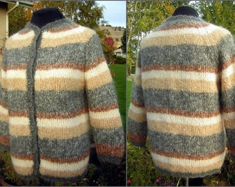 Vintage 60s Mohair Sweater Hand Knit Cardigan Italy Nubby Boucle & Fully Lined - Bust 46""