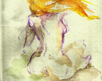 Hair in the Breeze  - Print of an ORIGINAL Watercolour  8x8 inches