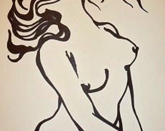 Hair in the wind - Female Nude - ORIGINAL Drawing 12x10 inches