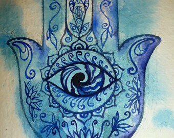 Hamsa Healing Hand - Art Print