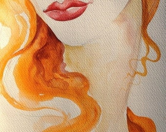 Red Hair Girl - ART Print of an ORIGINAL Watercolor  - Fashion Illustration - SALE -10x8 inches