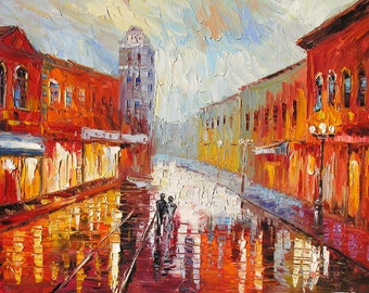 ORIGINAL Oil Painting Palette Knife Texture Handmade MADE2ORDER Cityscape Red Town Reflection Rain Orange Couple Love Ldrge Art by Marchella