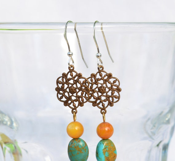Fall Sale Filigree Earrings with Turquoise and Goldstone, Lovely and Versatile. Priced to include to Sterling Silver Ear Hooks
