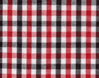 1 Yard Black and Red Tri-Check Fabric from Fabric Finders - Back by popular demand