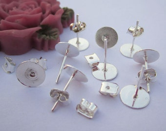 Silver Plated Earring Posts Back Stoppers, 20 pairs Nickel Free Surgical Steel Stud Earnuts with 8mm Flat Pad tray