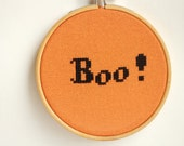 Halloween Boo Cross stitch in wooden hoop