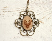 Deer necklace - hand embroidered - gift for her - n031