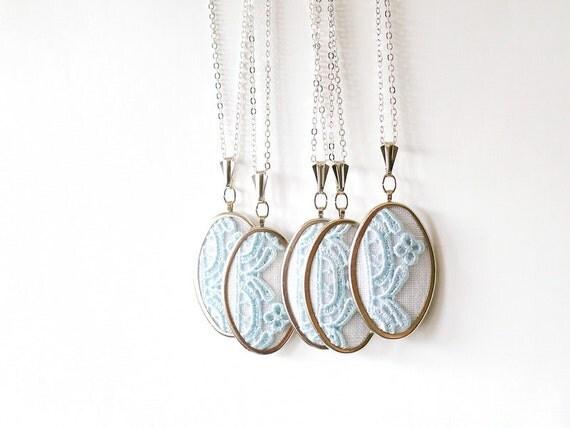 Bridesmaids set - lace necklaces in baby blue color l013