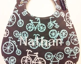Monogrammed Baby Bib -  Bicycles in Grey - Personalized Baby Bib - Baby Shower Gift - Baby Gift  - Bicycles Bib - Monogrammed Bib