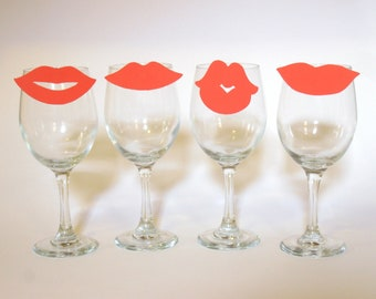 Red Lips Wine Charms, Kiss (Set of Four to clip on your glass) Funny Valentines Gift