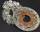 Rusty Washer and Shiny Ornate Filigree Industrial Altered Art necklace N 98