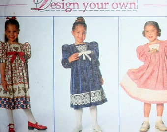 Girls Design Your Own Dress Sewing Pattern Simplicity 7411 Size 5 6 and 6x UNCUT