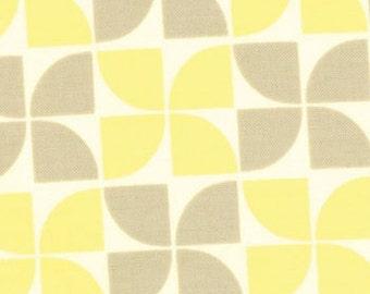 One HALF Yard - Marmalade by Bonnie and Camille for Moda - Floral Pinwheel Grey Lemon