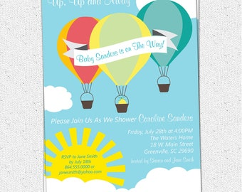 Hot Air Balloon Sunshine Baby Shower Invitation, Printable, Boy or Girl Gender Neutral, Up Up and AwayDIY Digital File