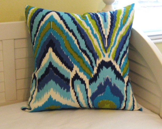 Trina Turk for Schumacher Peacock Print in Pool (on Both Sides) Pillow Cover