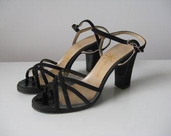 SALE vintage 1960s party shoes / black strappy shoes