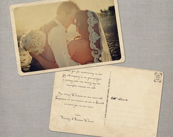 "Rustic Vintage Wedding Thank You Card, 4x6, Wedding Thank You Card, the ""Narissa"""