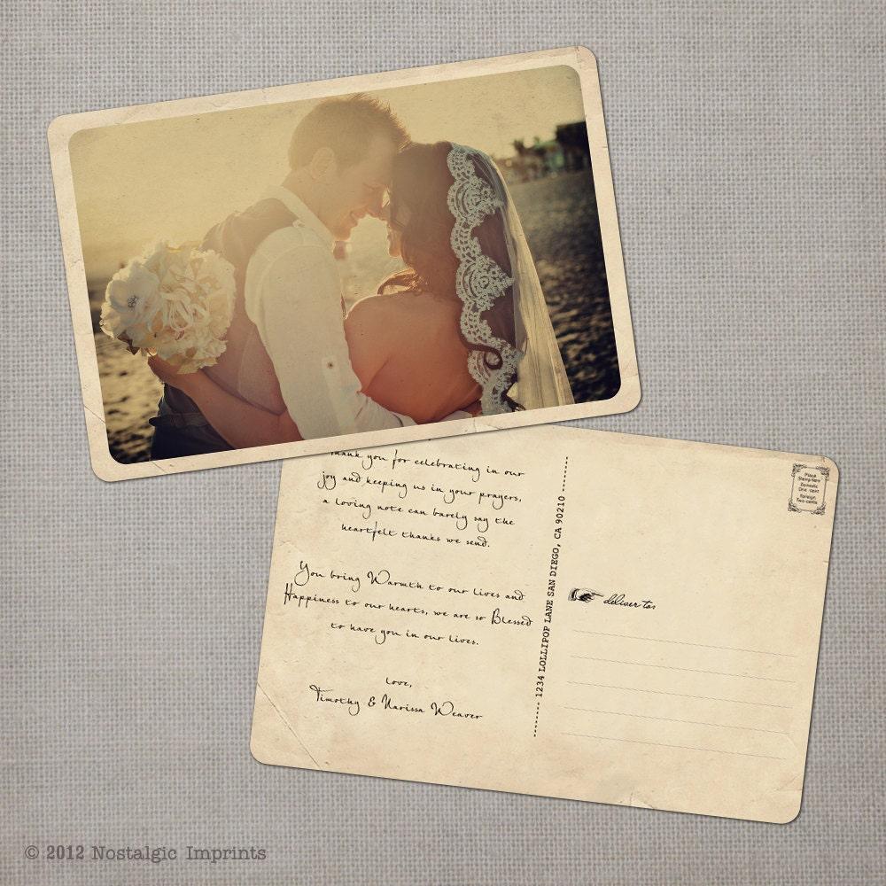 Wedding Thank You Postcards: Rustic Vintage Wedding Thank You Card 4x6 Wedding Thank You