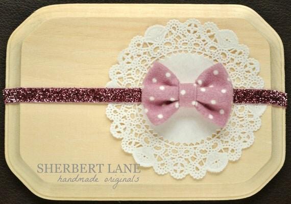 Baby Fabric Bow Headband - Pink Violet Polka Dot Fabric Bow - Glitter Elastic