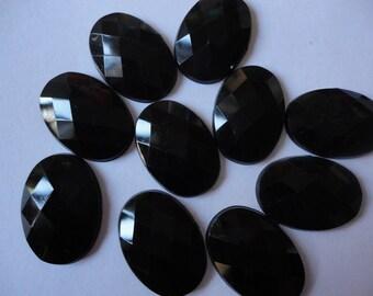 Black faceted oval acrylic rhinestone decoden phone deco diy  10 pcs--USA seller