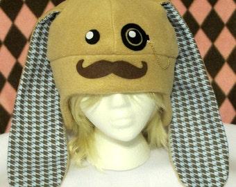 Mustache Bunny Fleece Hat - Blue Houndstooth