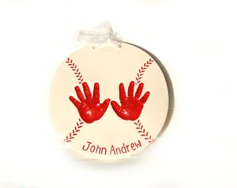 Child Keepsake-  Kids Gift - Gift for Mom & Dad - Baby Handprint Baseball Plaque - New Baby Gift - Gift For New Father - Baby Keepsake