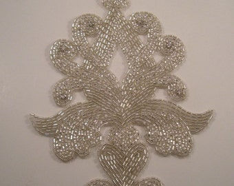 Large Classic Design Crystal and Rhinestone Beaded Applique--One Piece